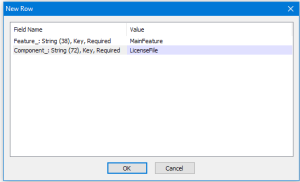 Screenshot of New FeatureComponent Dialog