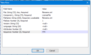 Screenshot of new file row dialog