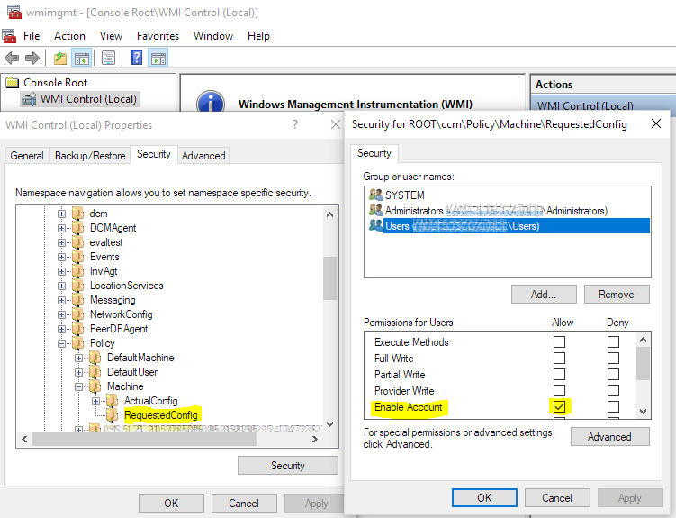 Screenshot of wmimgmt.msc permissions for Cireson ConfigMgr Ticker